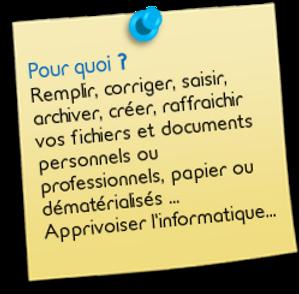 """Post-it """"pour quoi?"""" Remplir, corriger, saisir, créer, raffraichir vos fichiers et documents personnels ou professionnels, papier ou dématerialisés... ou apprivoiser l'informatique."""