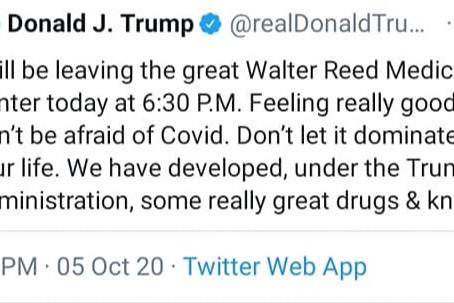 """Trump: """"N'ayez pas peur de Covid. Ne le laissez pas contrôler votre vie."""""""