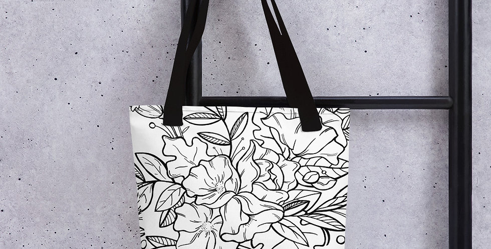 Black + White Floral Tote