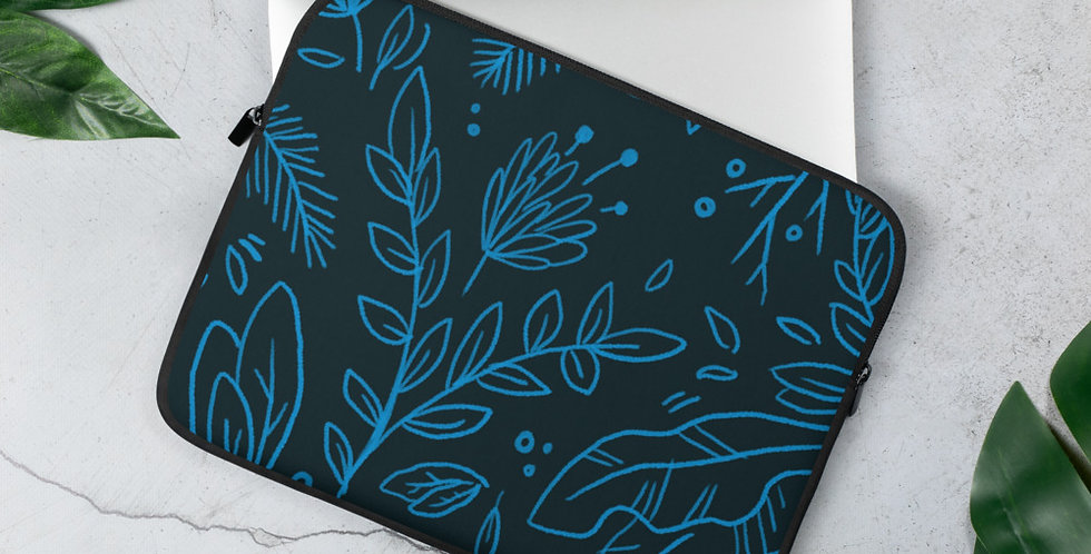 Black + Blue Floral Laptop Sleeve