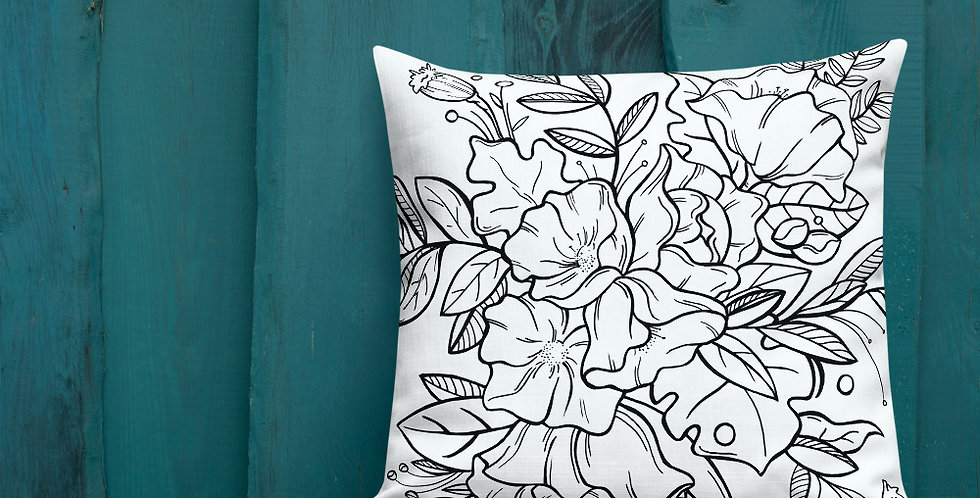 Black + White Floral - Premium Pillow