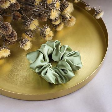 Olive Green Silk Scrunchie