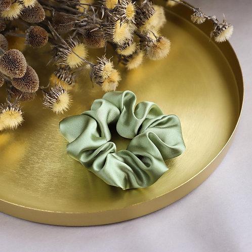 Olive Green Silk Hair Scrunchies