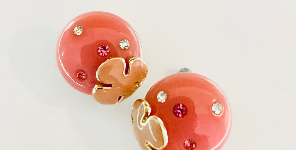 Pink Circle Stud Earrings