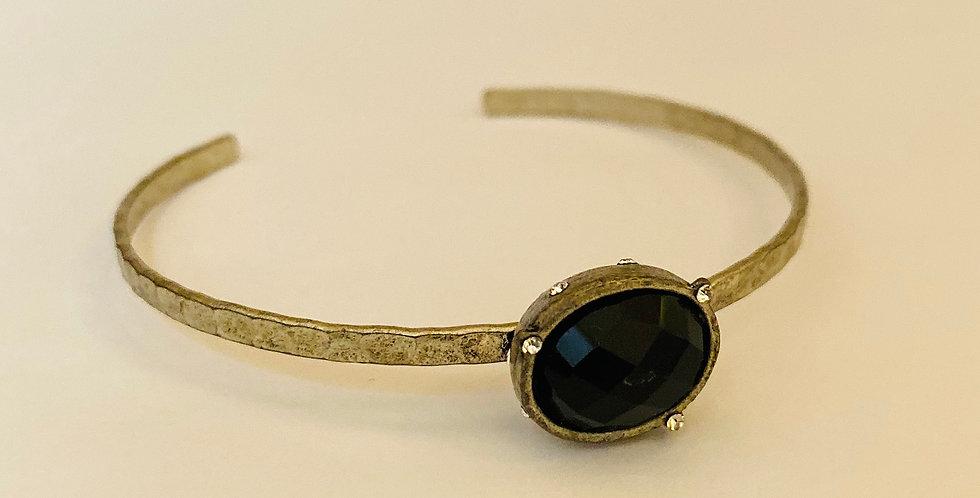 Black Stone Textured Bangle