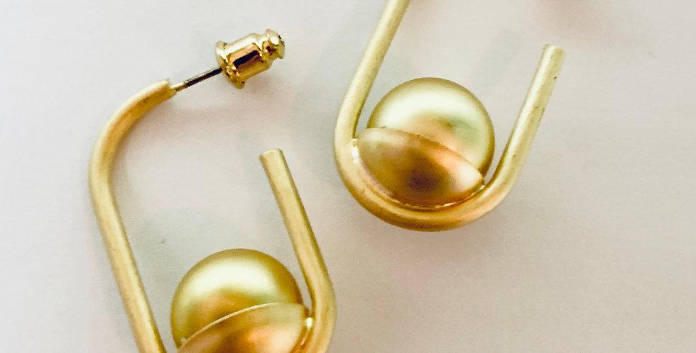 Matt Gold Ball Hoop Earrings