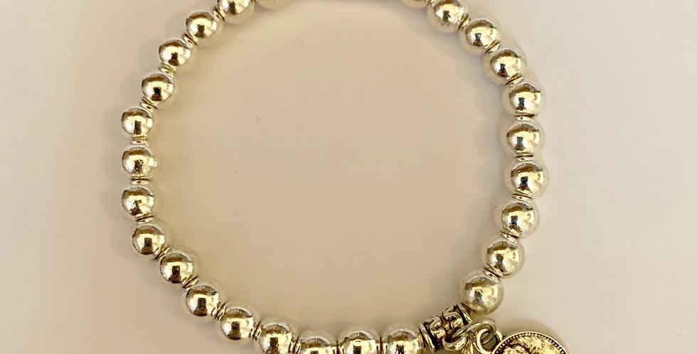Silver Beads Stretch Bracelet