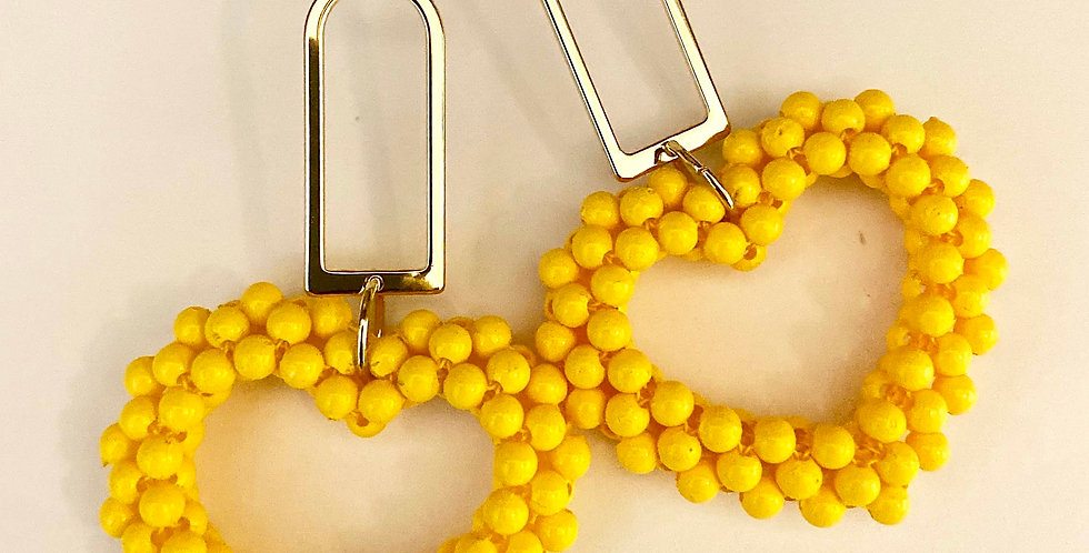 Yellow Beaded Heart Drop Earrings