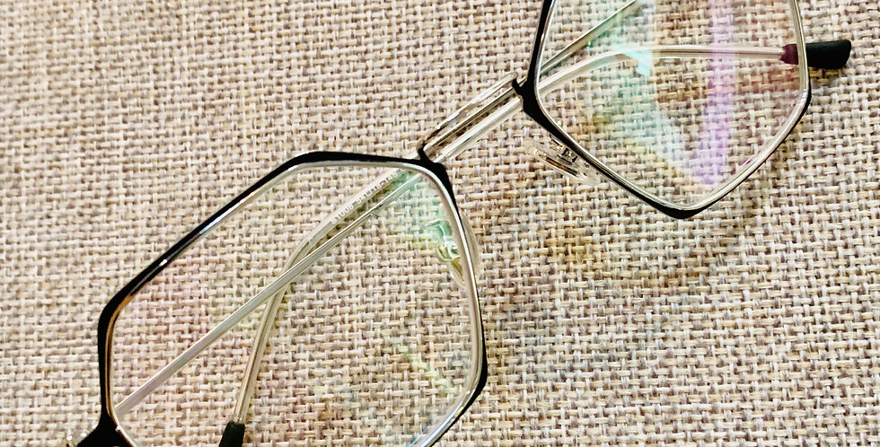 Hexagon Stylish Black Silver Eyeglasses