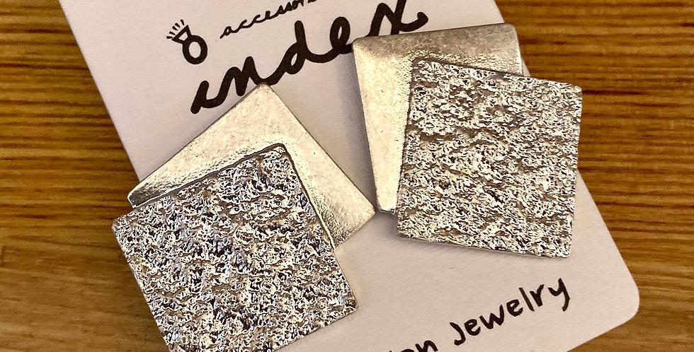 Silver Plates Stud Earrings