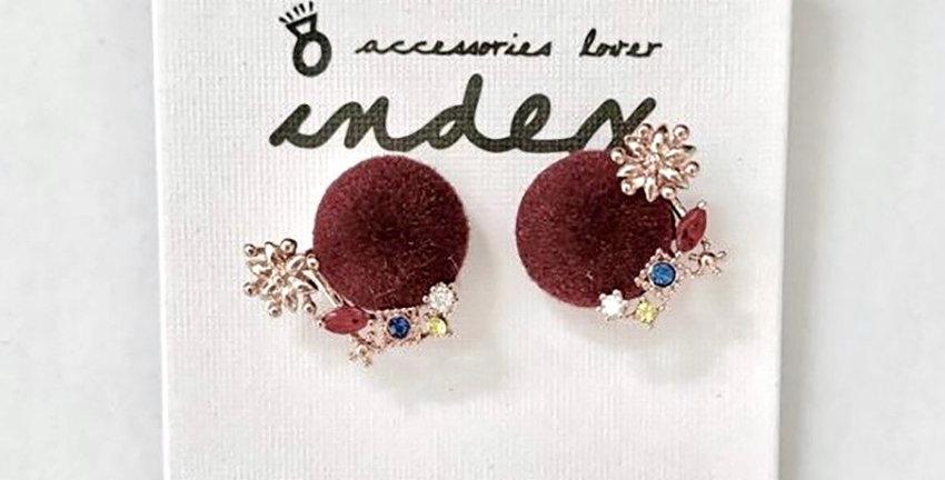 Wine Red Velvet Stud Earrings