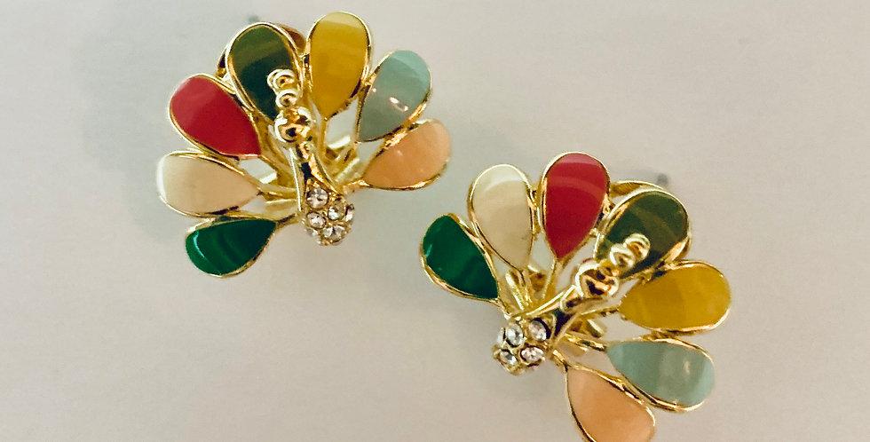 Colourful Peacock Stud Earrings