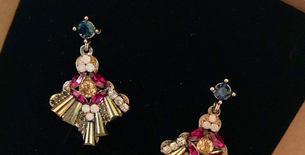 Fan Short Drop Crystal Earrings