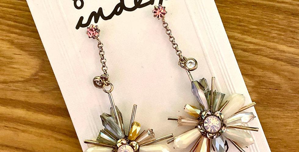 Gem Flower Long Drop Earrings
