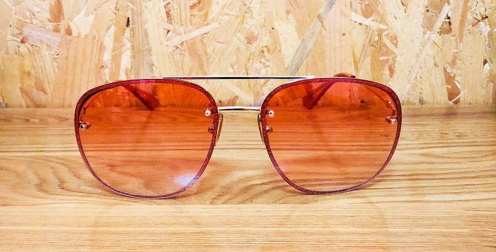Orange Square Aviator Sunglasses