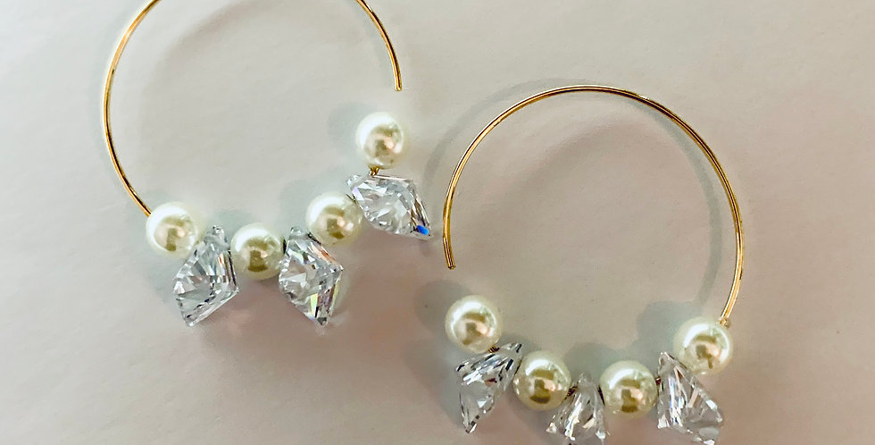 Crystals & Beads Hoop Earrings