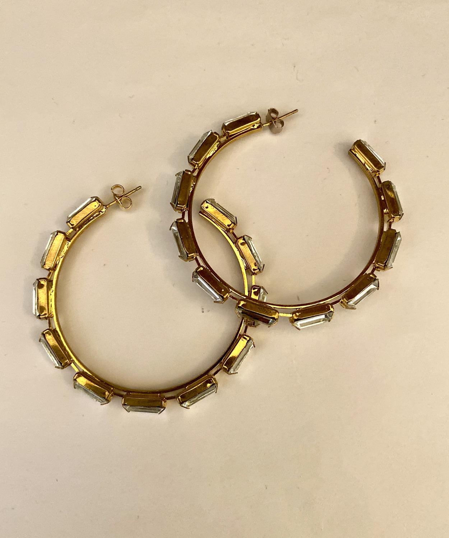 Thumbnail: Big Hoop Crystal Earrings
