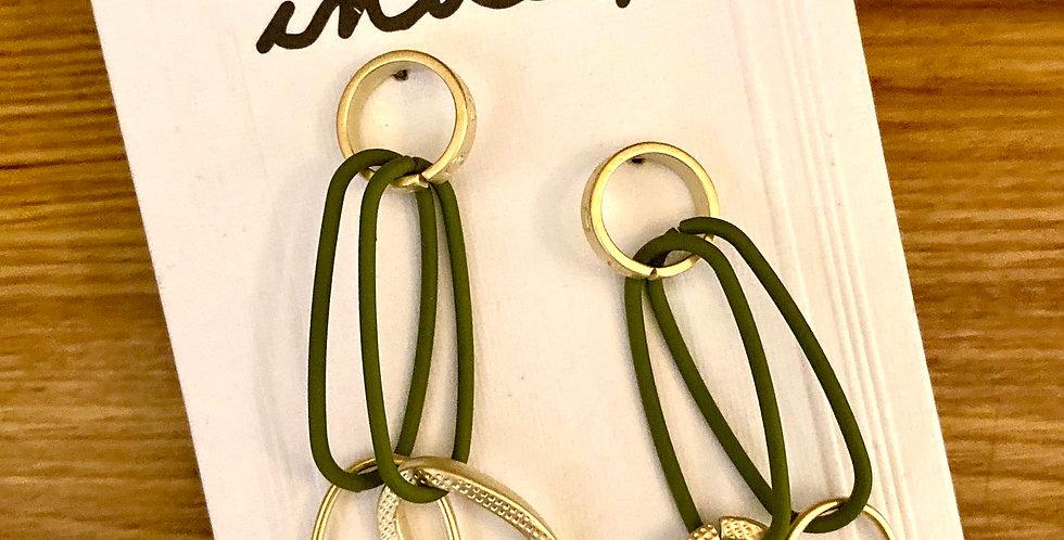 Matt Gold and Green Drop Earrings