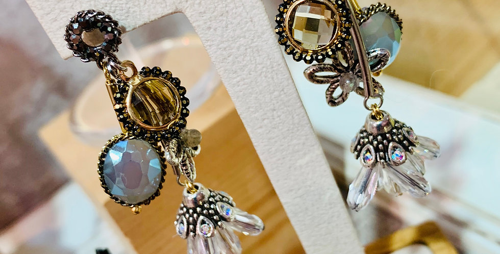 Crystal Charms and Drop Bell Earrings