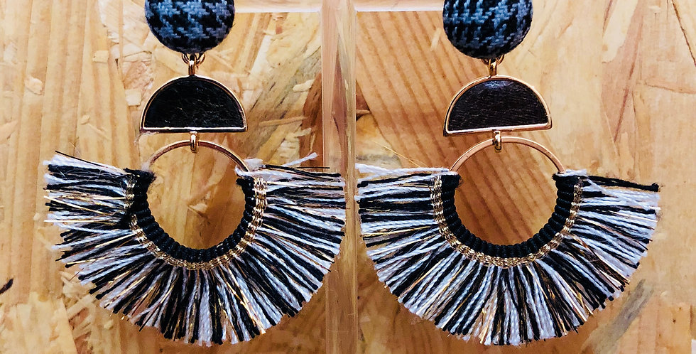 Black and White Thread Earrings