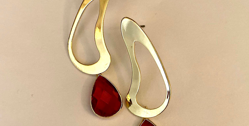 Steamline Earrings with Red Crystal