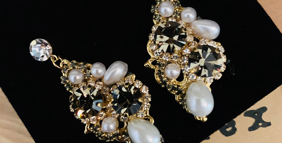 Sparkle Crystal Pearl Statement Earrings