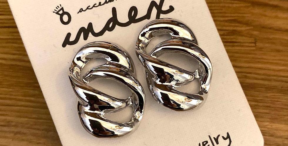 Silver Twist Stud Earrings