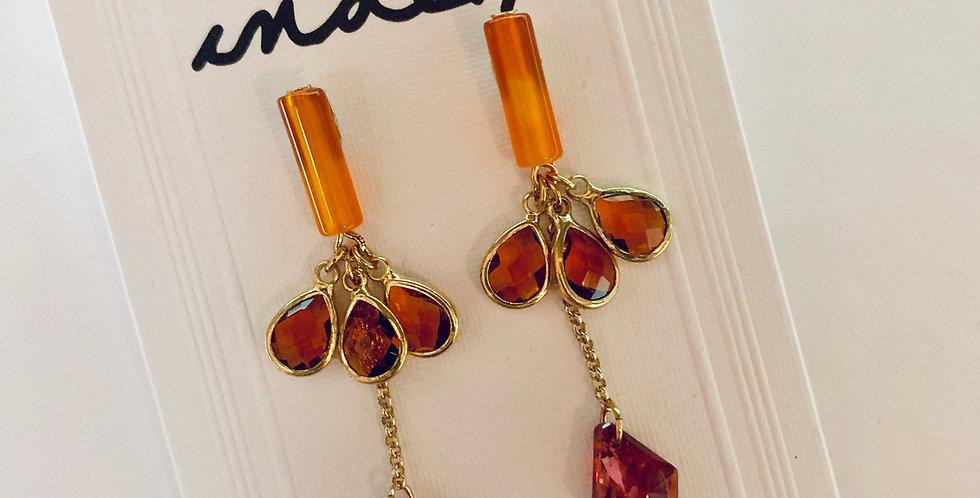 Orange Tear Drop Crystal Earrings