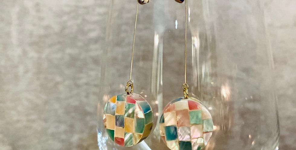 Mosaic Multi Color Shell Drop Earrings