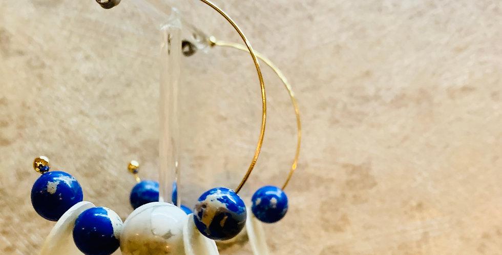 Blue Nature Stone Hoop Earrings