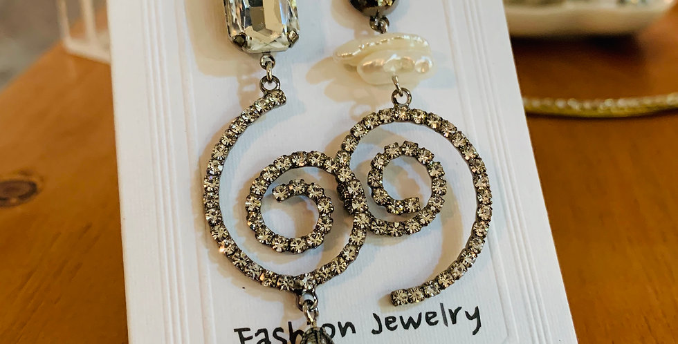 Crystal Swirl Drop Pearl Earrings