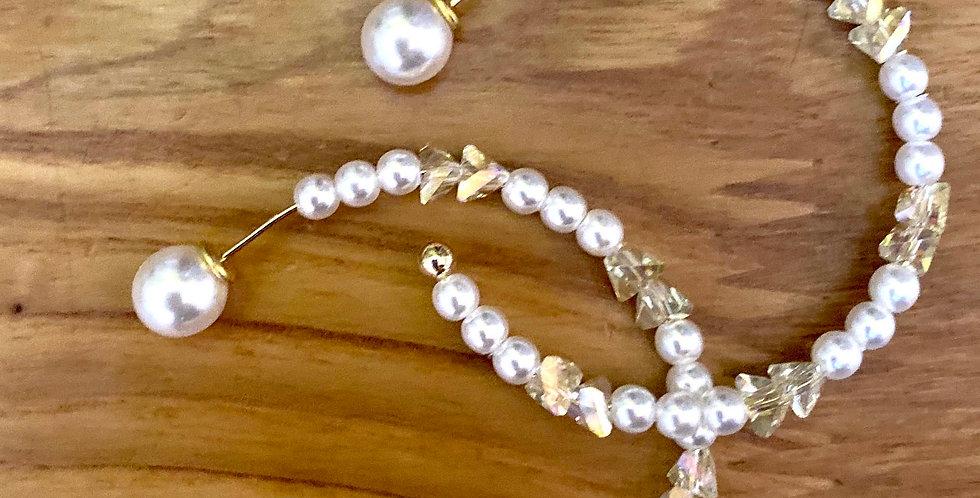 Pearls and Crystal Hoop Earrings