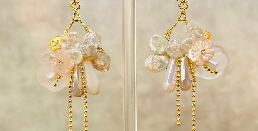 Shell and Pearl Flower Statement Earrings
