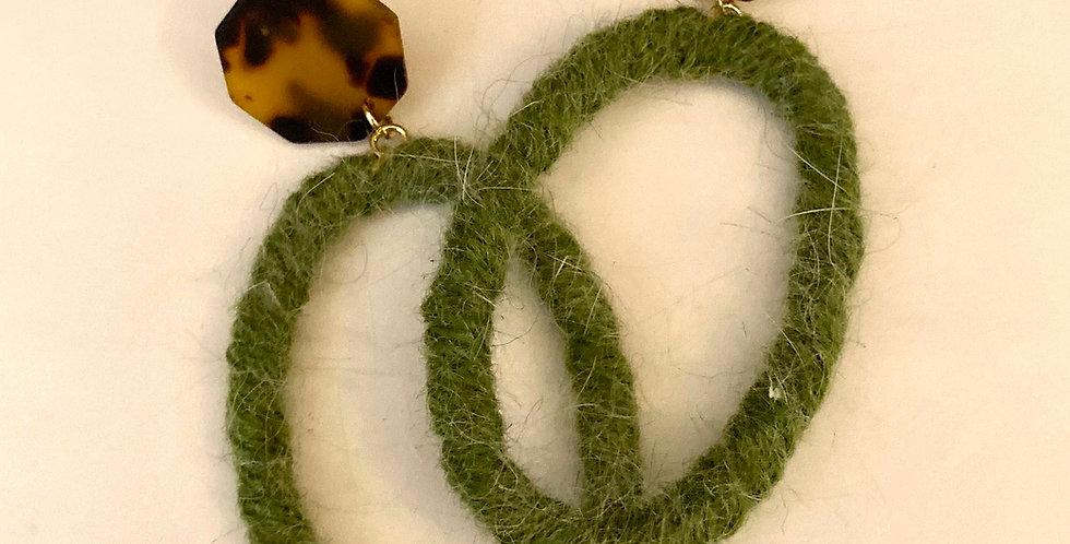 Oval Drop Wool Earrings