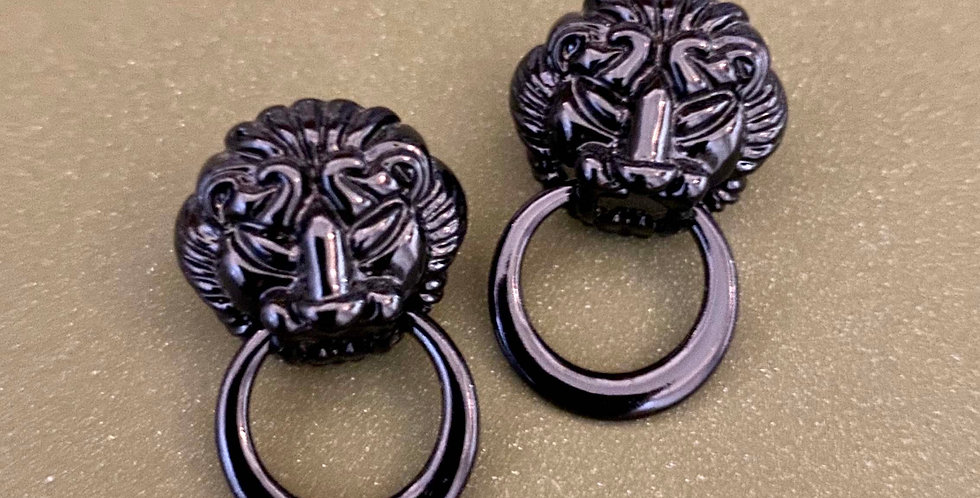 Lion Face Stud Earrings