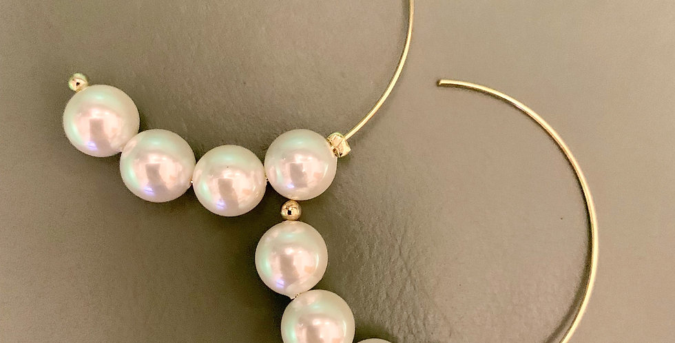 White Balls Hoop Earrings