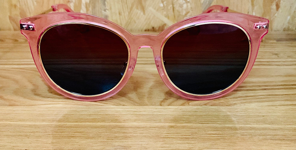 Pink Frame Golden Circle Sunglasses