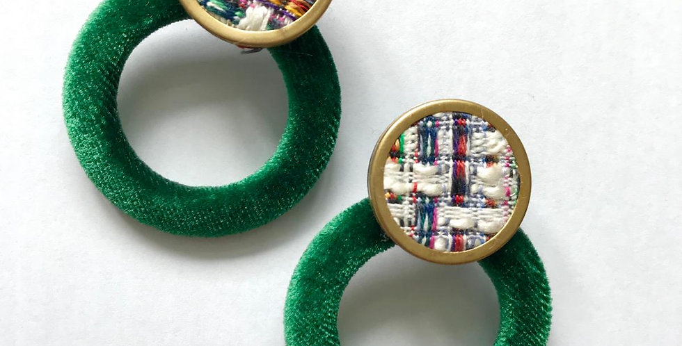 Suede Green Circle Earring