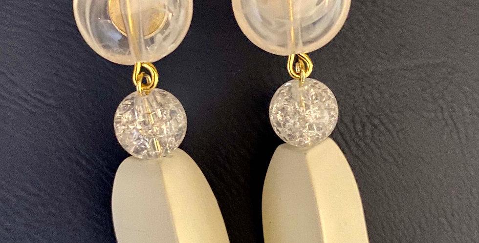 White Wood Drop Earrings