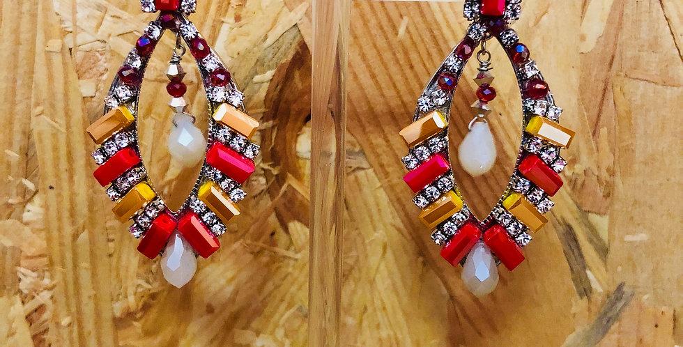 Crystal Oval Statement Earrings