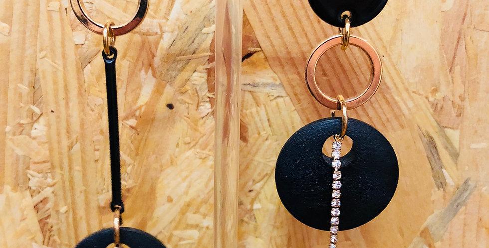 Wooden Circles Drop Earrings
