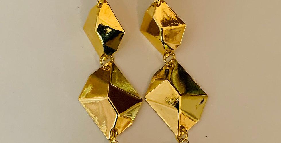 Golden Sheets Pearl Drop Earrings