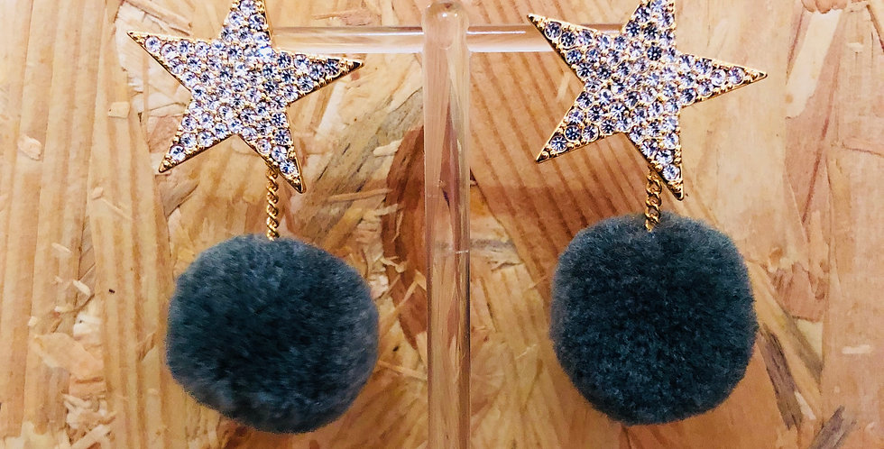Star Pom Pom Stud & Drop Earrings
