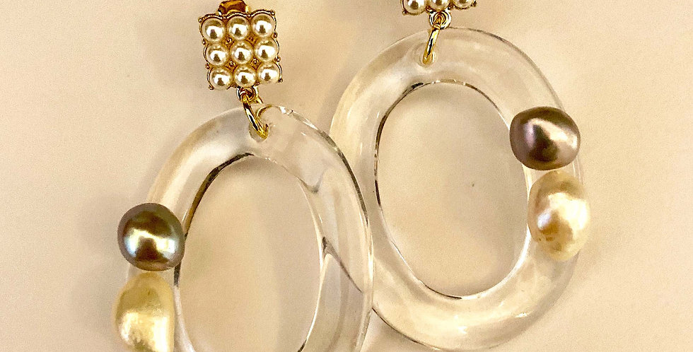 Oval Drop Earrings with Pearls