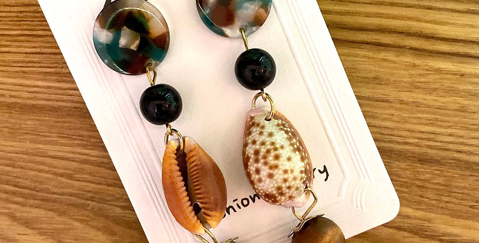 Resin and Shell Long Drop Earrings