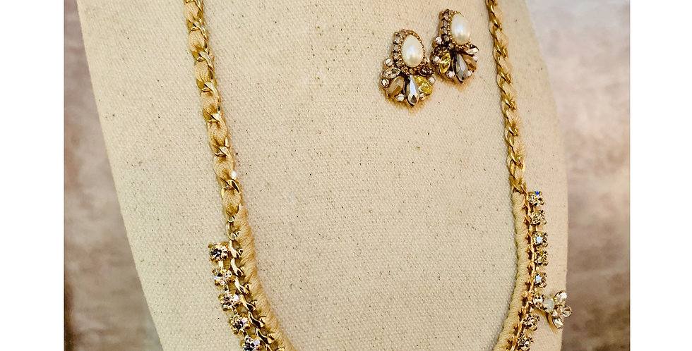 Beige Knotted Crystal Necklace