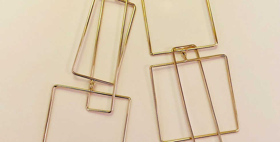 Square and Rectangle Drop Earrings