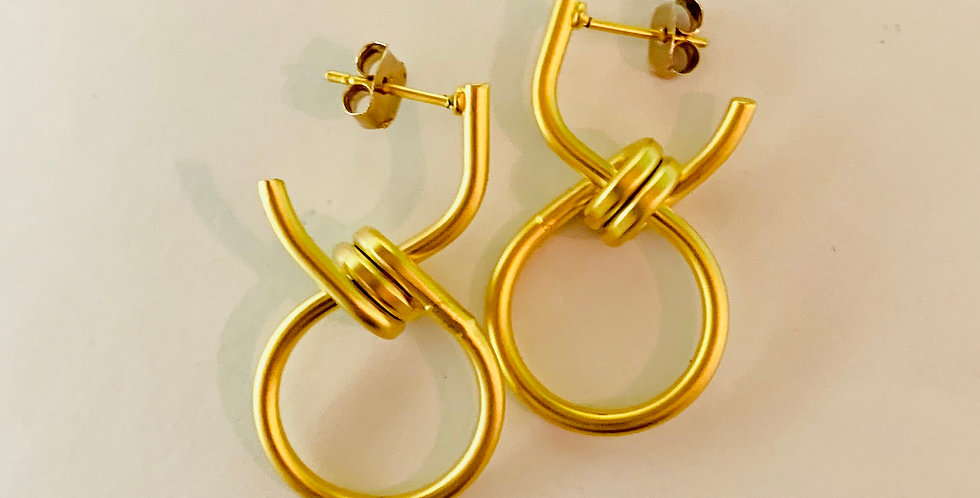 Matt Gold Knot Earrings
