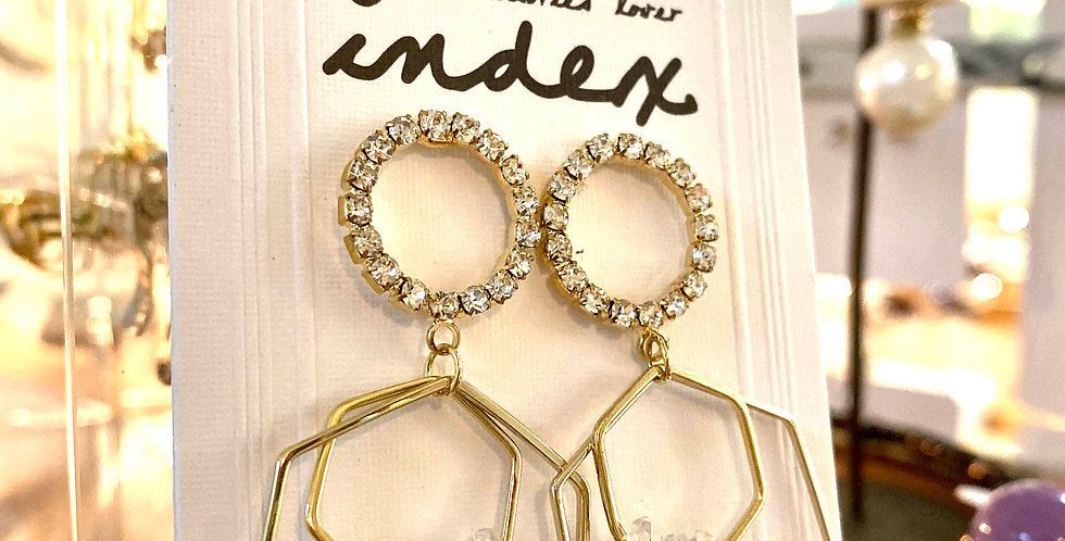 Hexagon Crystal Earrings