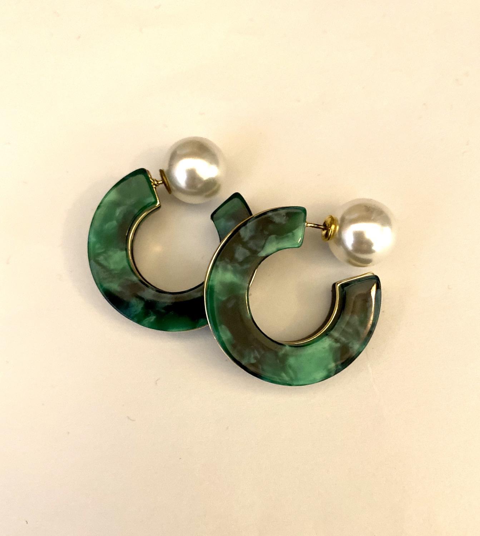 Green Marbled Resin Thick Hoop Earrings